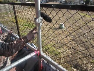 フェンスを塗装しています。